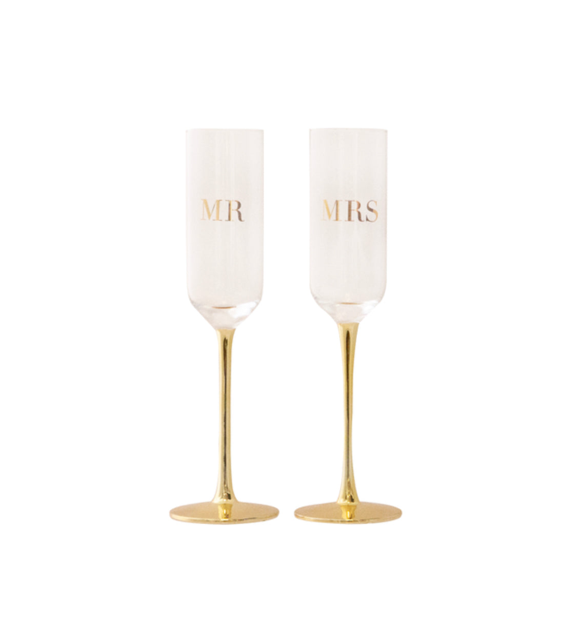 MR & MRS Wedding Champagne Crystal Flutes by Cristina Re (PRE ORDER)