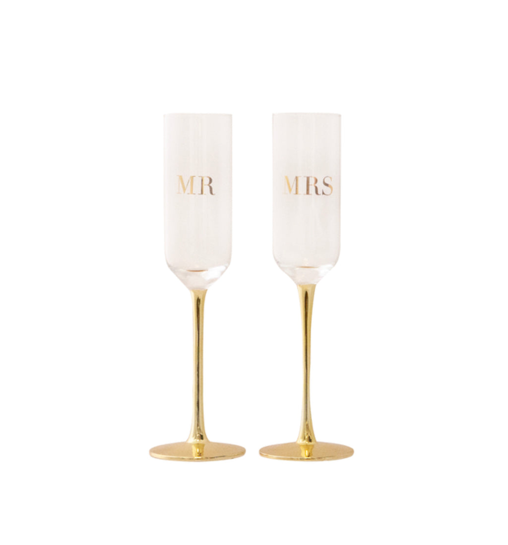 MR & MRS Wedding Champagne Crystal Flutes