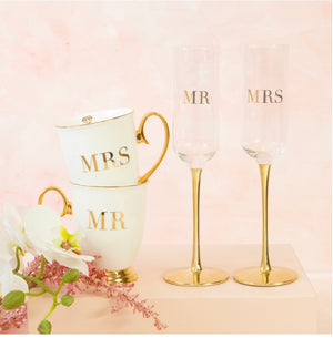 MR & MR Wedding Champagne Crystal Flutes by Cristina Re (PRE ORDER)