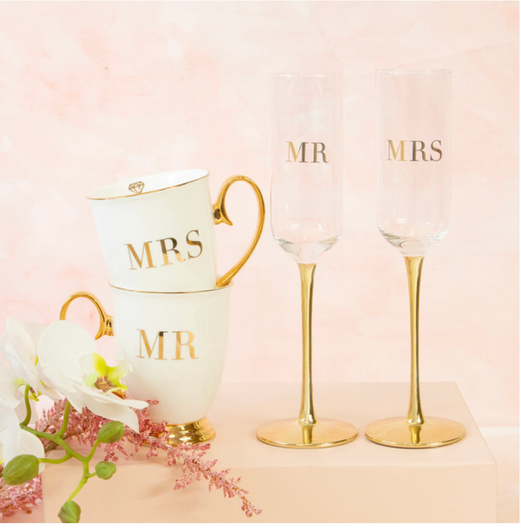 MRS & MRS Wedding Champagne Crystal Flutes