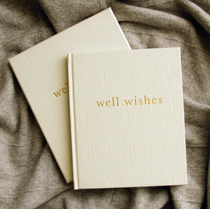 """Well Wishes"" White Linen Guestbook by Write To Me"