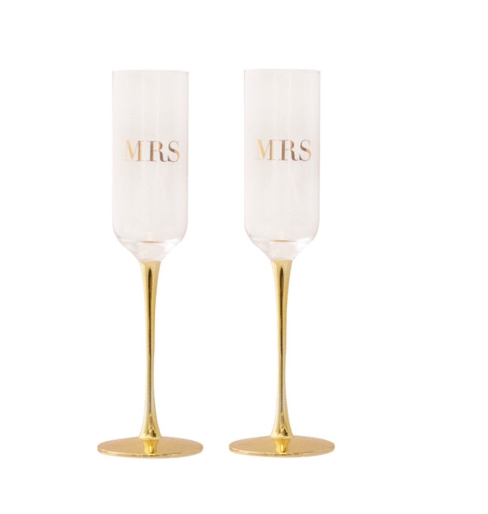 MRS & MRS Wedding Champagne Crystal Flutes by Cristina Re