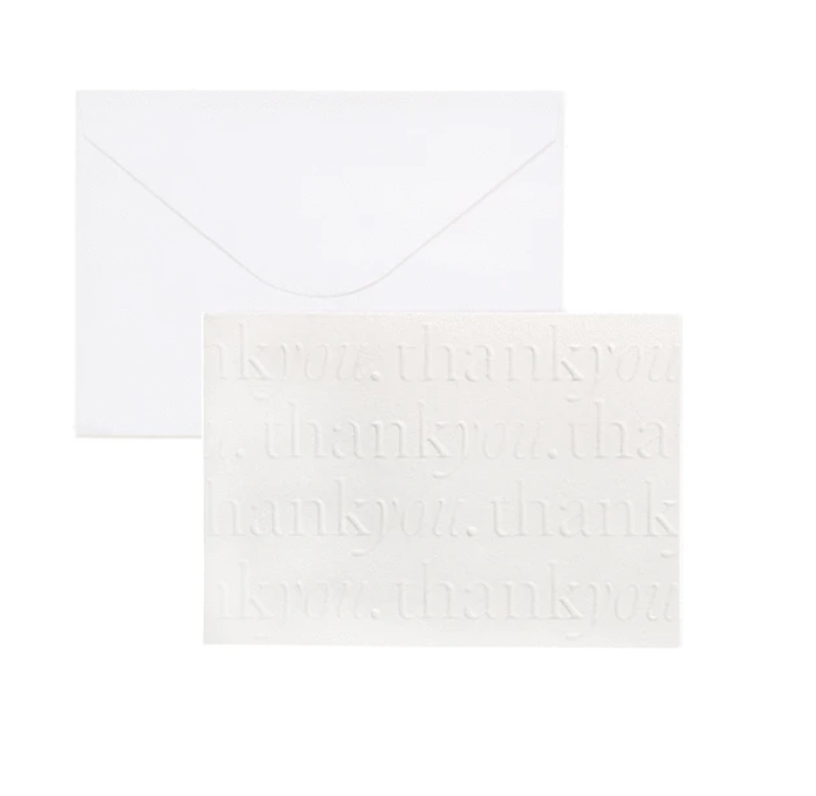 """Thank You"" White Card Set of 10 by Cristina Re"