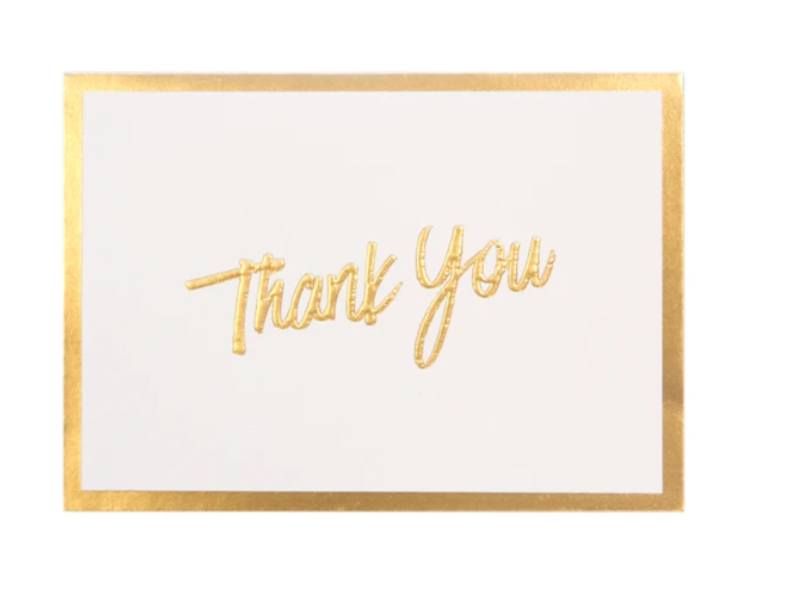 """Thank You"" Gold Foil Card Set of 10  by Cristina Re"