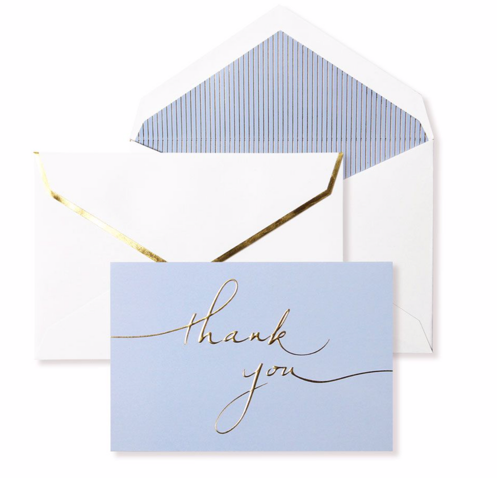 "Misty Blue + Gold Foil Embossed ""Thank You"" 10 Card Set by Alice Pleasance"