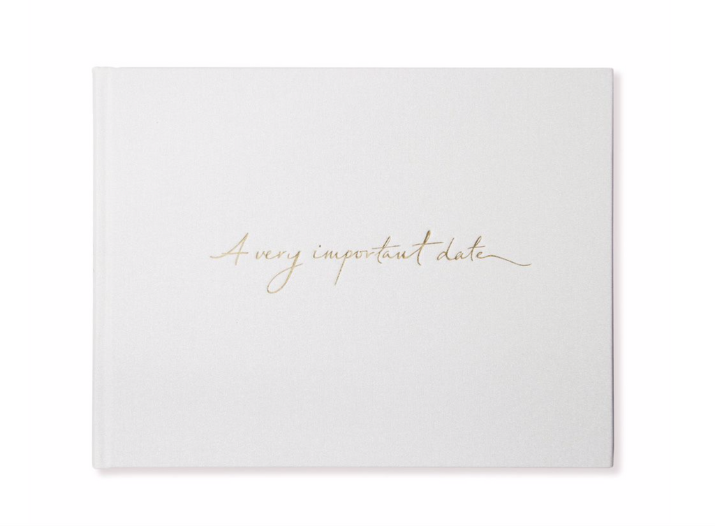 """A Very Important Date"" Pearl White + Gold Foil Guestbook by Alice Pleasance"