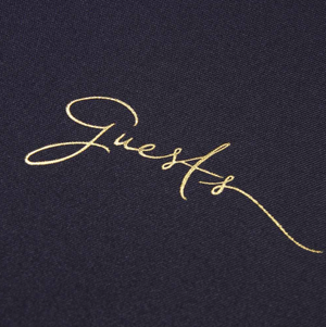 """Guests"" Navy Blue + Gold Foil Guestbook by Alice Pleasance"