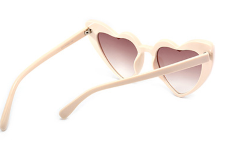 Love Heart Honeymoon Sunglasses - Cream