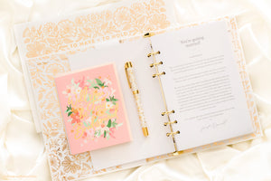 "Gold Floral ""Moonstone"" Pen by Fox + Fallow"