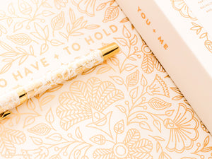 """To Have + To Hold"" Gold Floral Wedding Guestbook by Fox + Fallow"