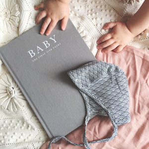 """Baby: The First Five Years"" Grey Linen Baby Milestone Journal by Write To Me"