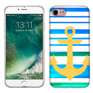 Apple iPhone 7 Blue Anchor Stripe Phone Cases