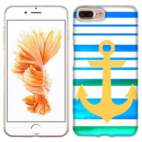 Apple iPhone 7 PLUS Blue Anchor Stripe Phone Cases