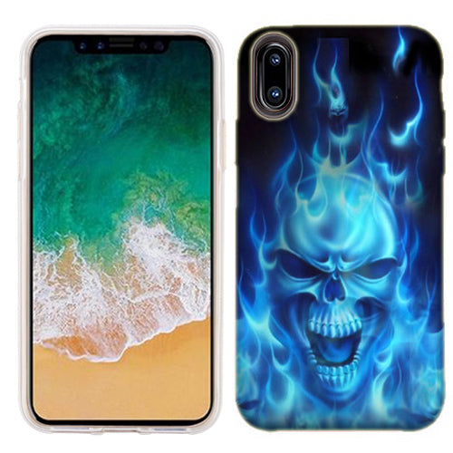 Apple iPhone X Flaming Skull Phone Cases