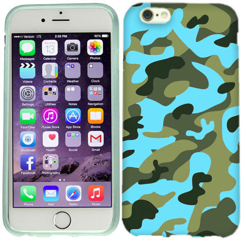 Apple iPhone 6s Plus Green Blue Camo Case Cover