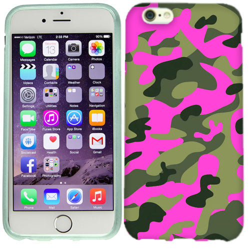 Apple iPhone 6s Plus Green Pink Camo Case Cover