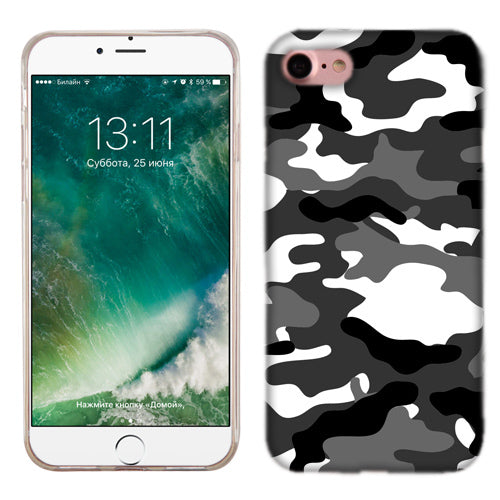 Apple iPhone 7 Grey Camo Phone Cases