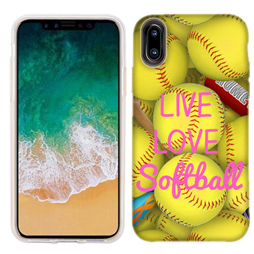Apple iPhone X Love Softball Phone Cases