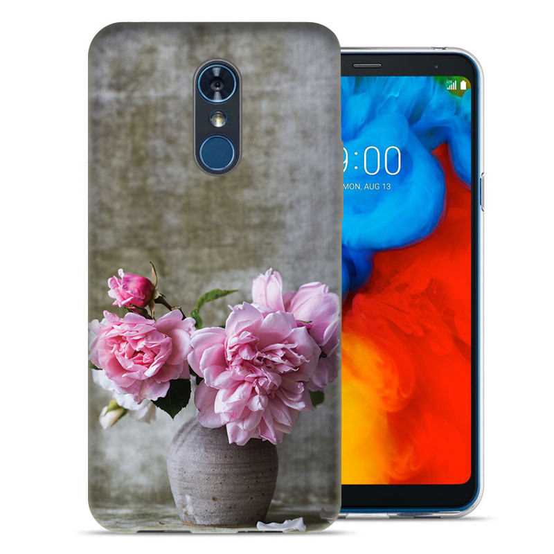 LG Stylo 4 Flowers and Vase Design TPU Gel Phone Case Cover