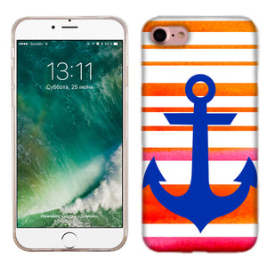Apple iPhone 7 Orange Anchor Stripe Phone Cases