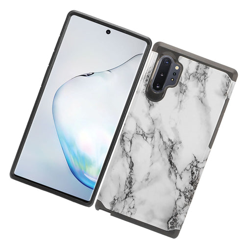 MUNDAZE Samsung Galaxy Note 10 Case Cover White Grey Marble Design Duo Slim