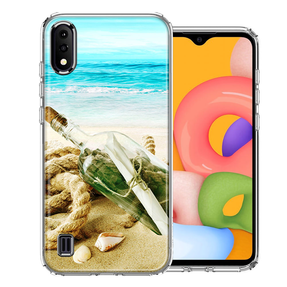 Samsung A01 Beach Message Bottle Design Double Layer Phone Case Cover