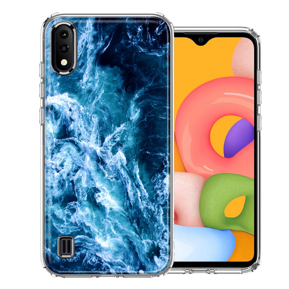 Samsung A01 Deep Blue Ocean Waves Design Double Layer Phone Case Cover