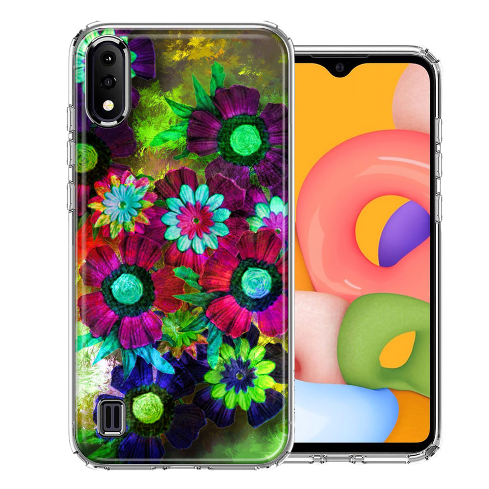 Samsung A01 Colorful Daisies Design Double Layer Phone Case Cover