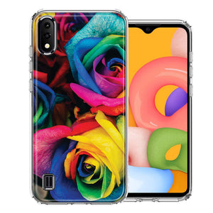 Samsung A01 Colorful Roses Design Double Layer Phone Case Cover