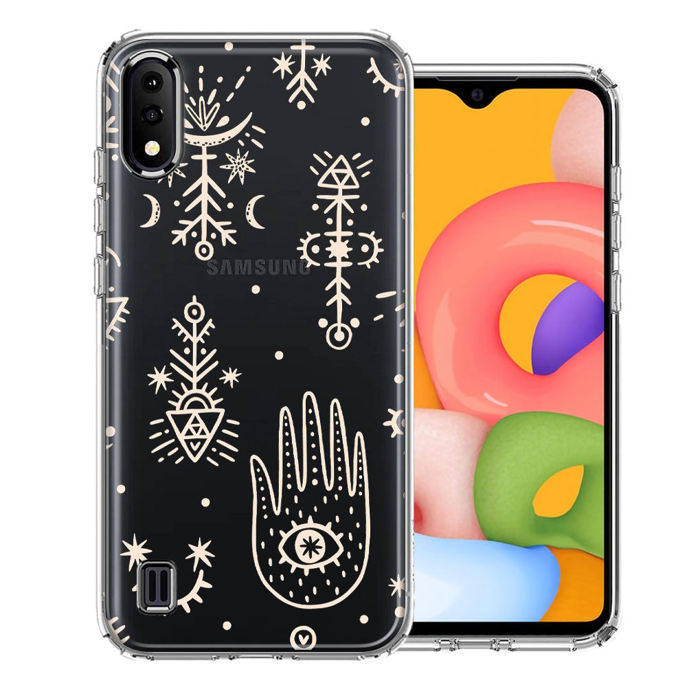 Samsung A01 Hamsa Amulet Design Double Layer Phone Case Cover