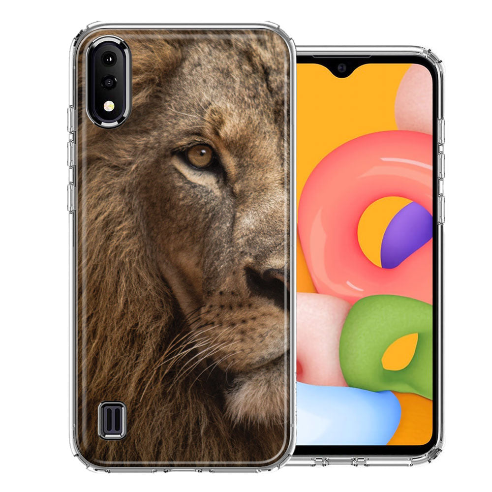 Samsung A01 Lion Face Nosed Design Double Layer Phone Case Cover