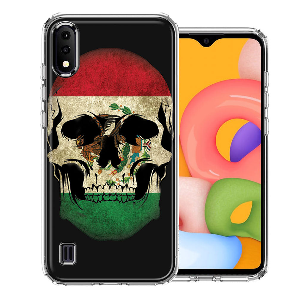 Samsung A01 Mexico Flag Skull Design Double Layer Phone Case Cover