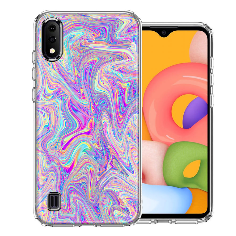 Samsung A01 Paint Swirl Design Double Layer Phone Case Cover