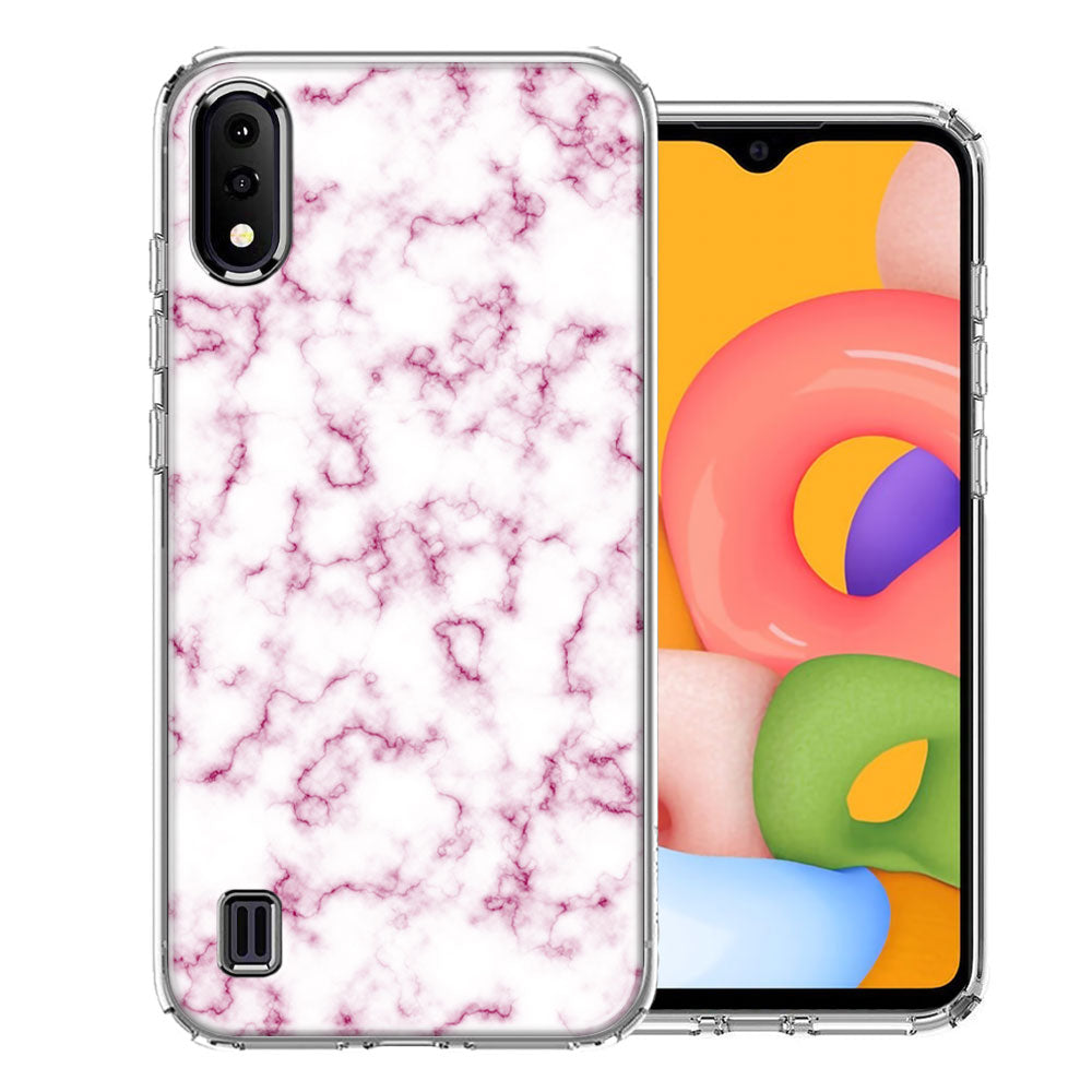 Samsung A01 Pink Marble Design Double Layer Phone Case Cover