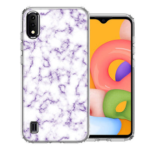 Samsung A01 Purple Marble Design Double Layer Phone Case Cover