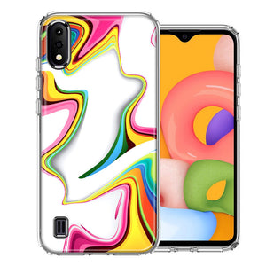 Samsung A01 Rainbow Abstract Design Double Layer Phone Case Cover