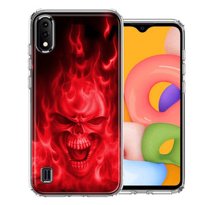 Samsung A01 Red Flaming Skull Design Double Layer Phone Case Cover