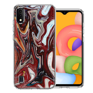 Samsung A01 Red White Abstract Design Double Layer Phone Case Cover