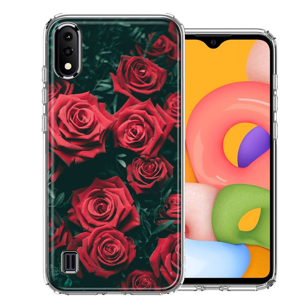 Samsung A01 Red Roses Design Double Layer Phone Case Cover