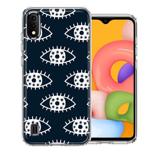 Samsung A01 Starry Evil Eyes Design Double Layer Phone Case Cover