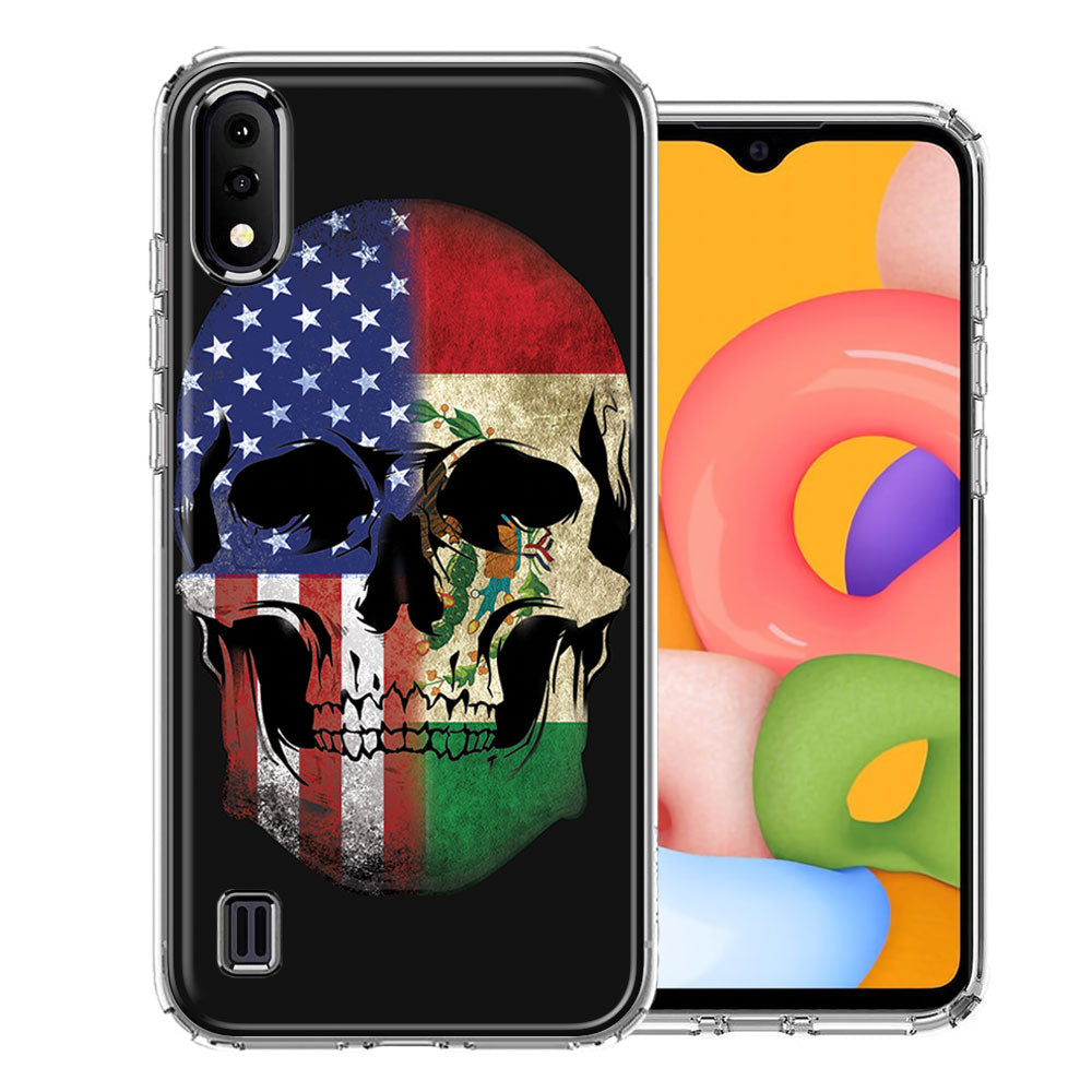 Samsung A01 US Mexico Flag Skull Double Layer Phone Case Cover