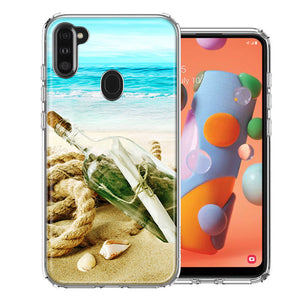 Samsung A11 Beach Message Bottle Design Double Layer Phone Case Cover