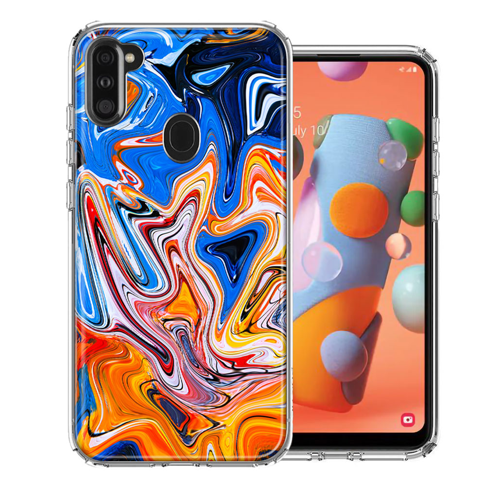 Samsung A11 Blue Orange Abstract Design Double Layer Phone Case Cover
