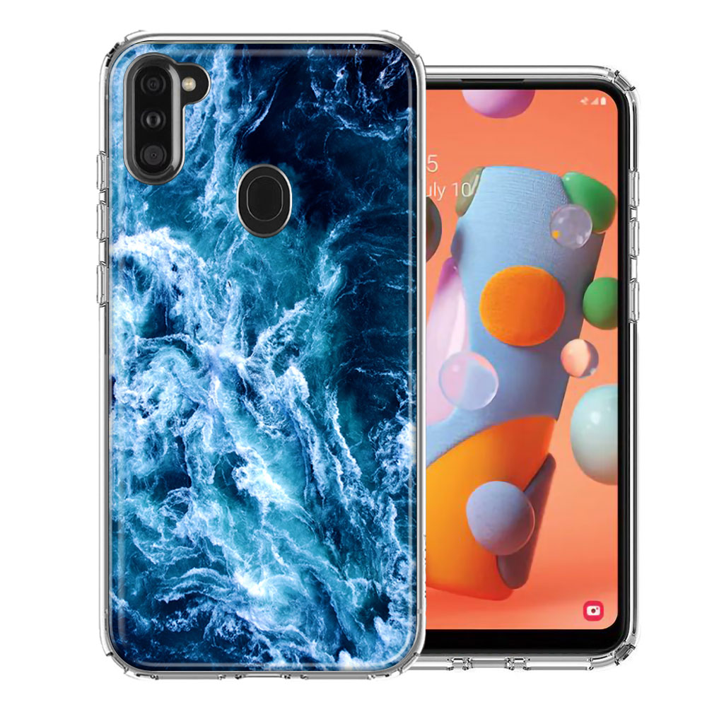 Samsung A11 Deep Blue Ocean Waves Design Double Layer Phone Case Cover