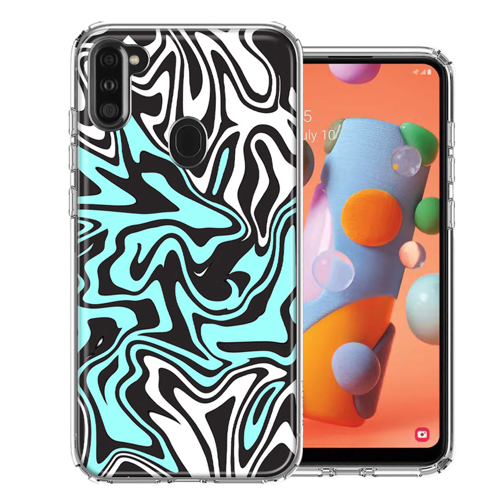 Samsung A11 Mint Black Abstract Design Double Layer Phone Case Cover