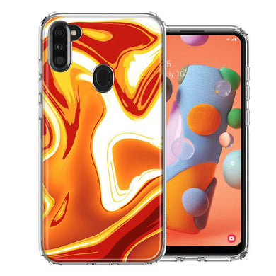 Samsung A11 Orange White Abstract Design Double Layer Phone Case Cover