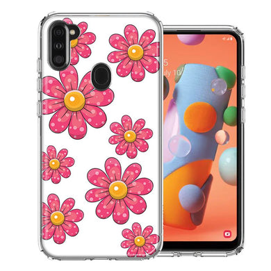 Samsung A11 Pink Daisy Flower Design Double Layer Phone Case Cover