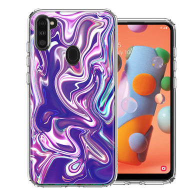 Samsung A11 Purple Paint Swirl  Design Double Layer Phone Case Cover
