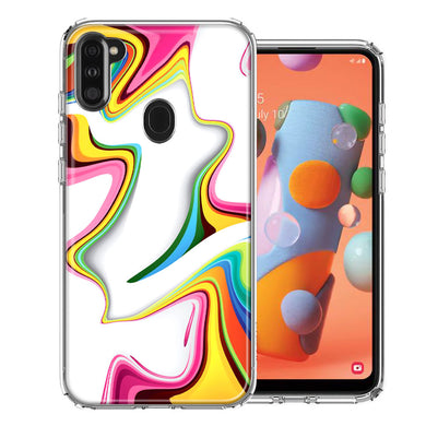 Samsung A11 Rainbow Abstract Design Double Layer Phone Case Cover