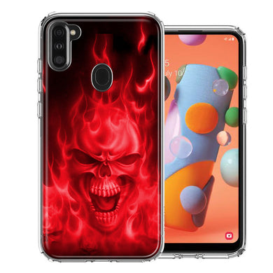 Samsung A11 Red Flaming Skull Design Double Layer Phone Case Cover